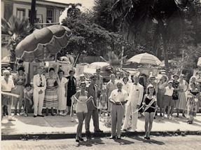 Deloris when she won Miss Key West in  1951.  She and the Carbonell girl was at the Clinton Square ribbon cutting ceromony for the opening of the Art Festival. Mayor Louis Eisner and Senator  John Spottswood along with other Conchs attending. Maybe someone will reconigze some of the other people attending.  Submitted by Jackne Drudge
