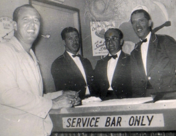 "The Bamboo Room: Early 1950s [left to right: George Curry (one of the owners), Ray ""Mundi"" Beiro, Manuel Valdez, and Raul Sibila] ; Submitted by Cookie"
