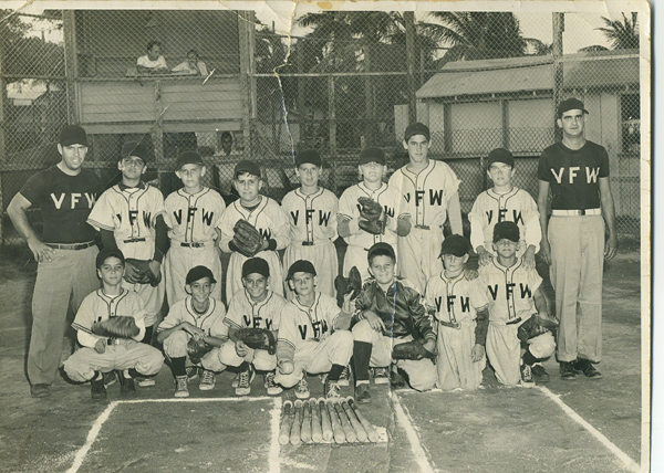 1951 VFW Little League team taken at Bayview Park. Standing left to right Manager Walter Cooper, Raul Cervantes, Tom Folley, Chumpie Esquinaldo, Richard Sawyer, Thomas Martin, Ray Taylor, Tom Witney, Coach Angle. Front row left to right Tony Estonez, Bobbie Thompson, Jonnie Garcia, Martin Thomas, Fred Carnival, ? Wright, Tony Barrosa.