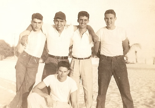 L-R STANDING: FRANK VELIZ, WAFIE HENRIQUEZ, ROBERT LASTRES, (THE LATE) GLYNN ARCHER, JR AND (THE LATE) SQUEEKY VIDAL, KNEELING.